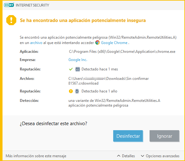 [Versión 6.8.0.1] ESET Internet Security detect it as unsafe