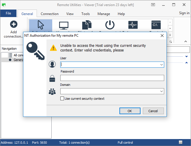 Windows Security auth prompt