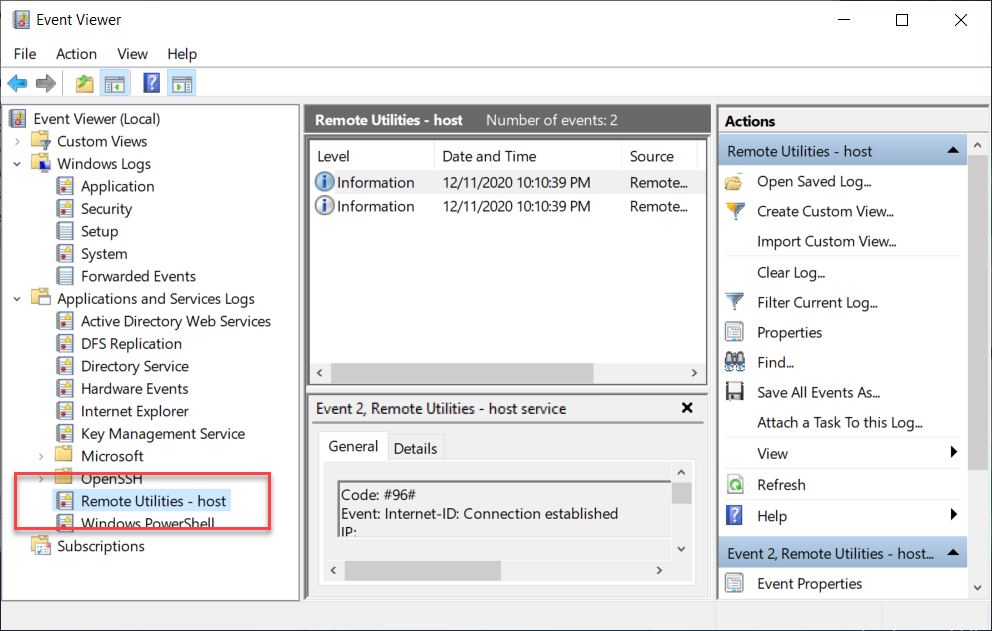 Windows event log showing Remote Utilities Host log