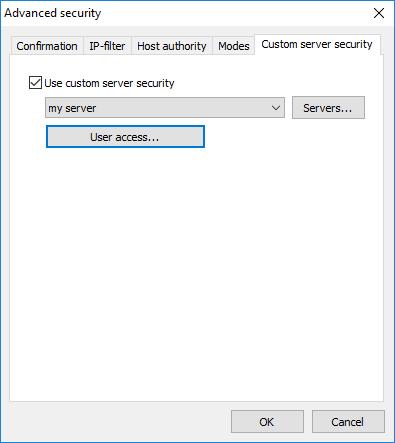 Custom server security