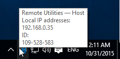 Hovering mouse point over the Host icon