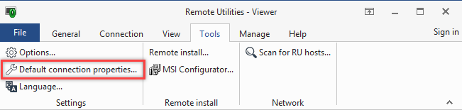 Default Connection Properties button on the Tools tab