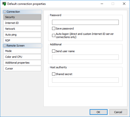 Default connection properties dialog