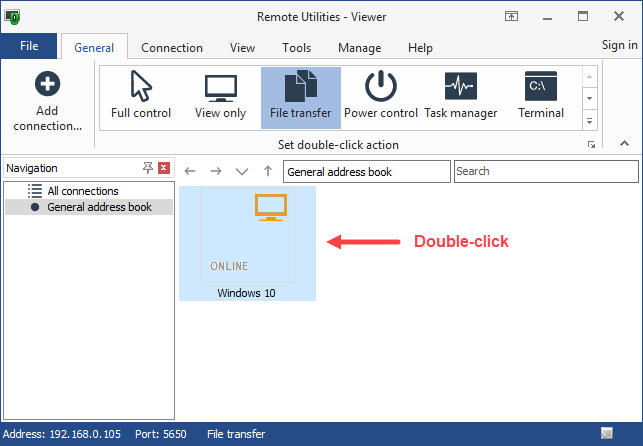 File Transfer connection mode button