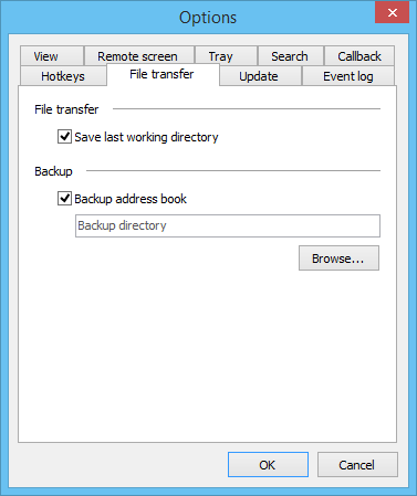 Misc tab with address book backup options