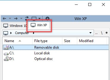 Remote tabs in the File Transfer mode