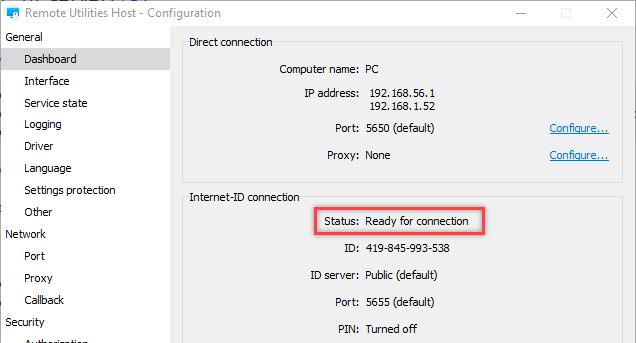 Host connection status