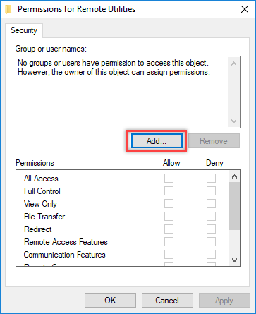 Permissions for Remote Utilities
