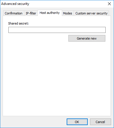 Host authority tab