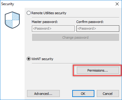WinNT Security permissions button