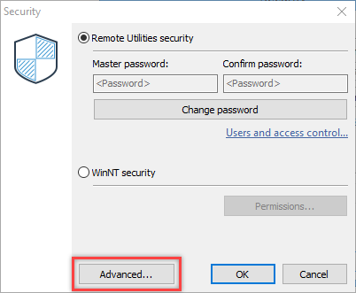 Security settings dialog