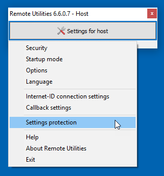 Settings protection menu item