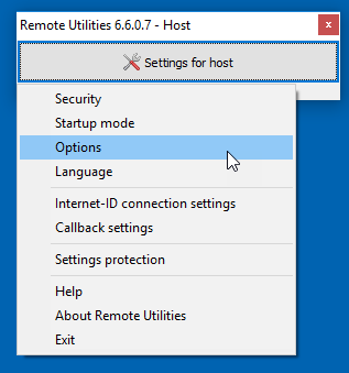 Settings for Host - Options menu item