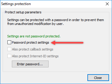 Settings protection dialog