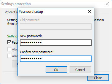Password setup dialog