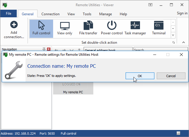 Remote settings dialog