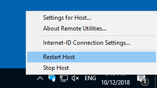 Settings for Host - Restart Host