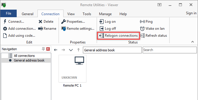 Re-logon connections command on the Connection tab