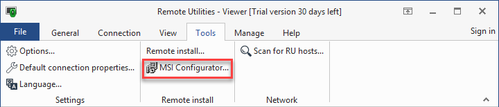 MSI Configurator button on the Viewer toolbar