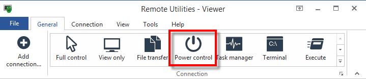 Power control button on the Viewer toolbar
