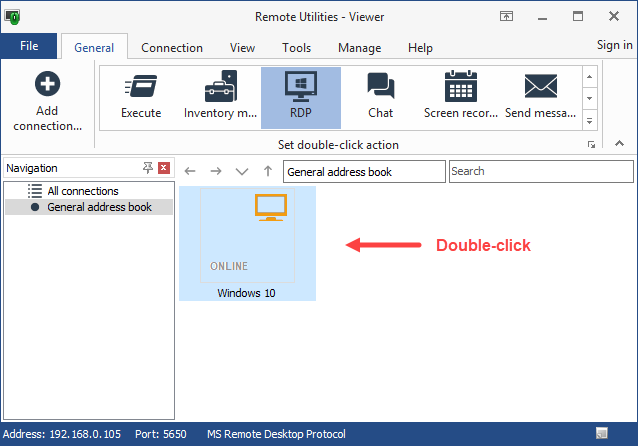 RDP button on the Viewer toolbar