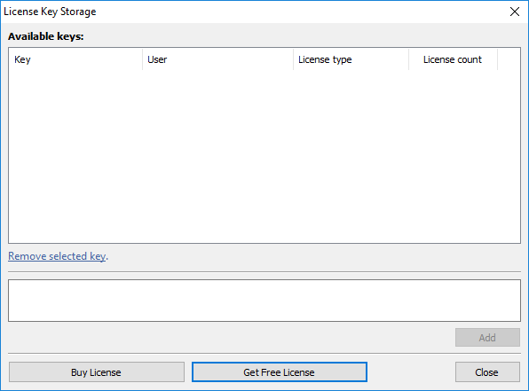 The License Key Storage window