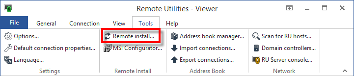 Remote Install Tool button on Viewer toolbar