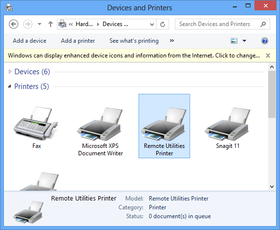 Devices and Printers dialog
