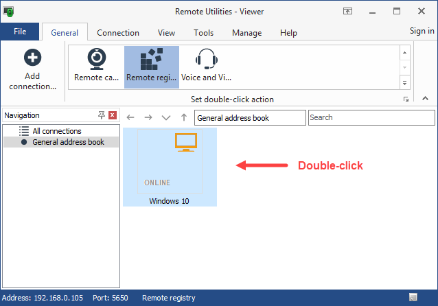 Remote Registry button on the Viewer toolbar