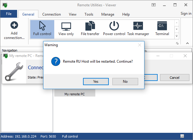 Restart remote Host prompt