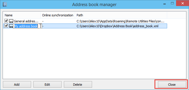 Editing address book name in the Address Book Manager