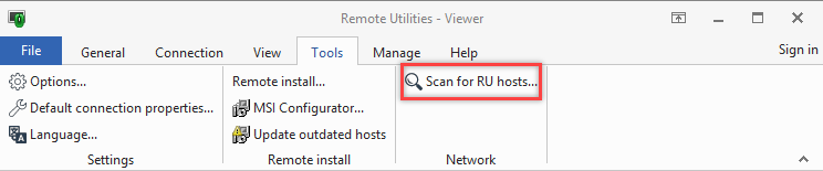 Scan for Hosts button