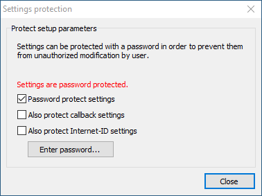 Password protect settings checkbox