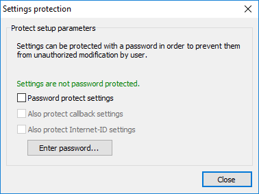 Password protection removed