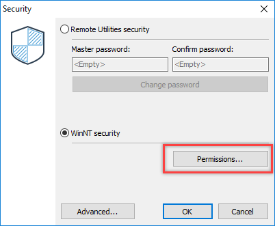 Host security dialog