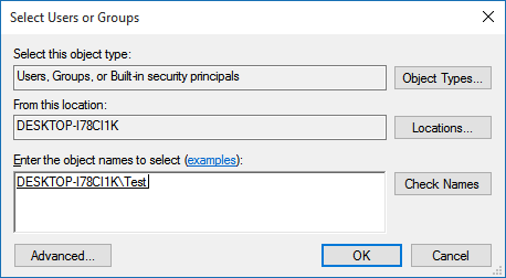 Select user or group to allow access