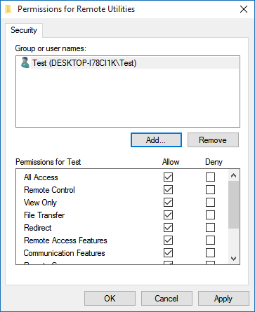 Set permissions for the user