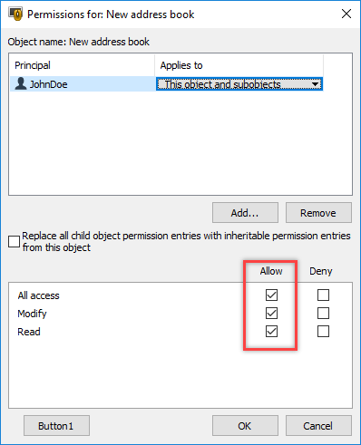 Setting permissions for a user