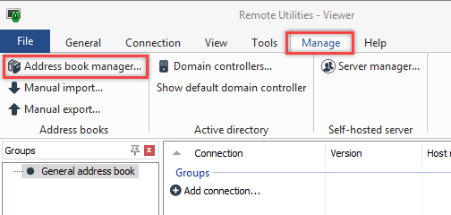 Address book manager button
