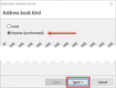 Select address book to add