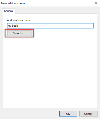 Address book creation dialog