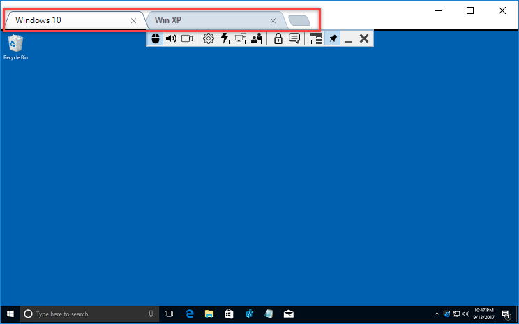 Tabs in Full control/View mode window