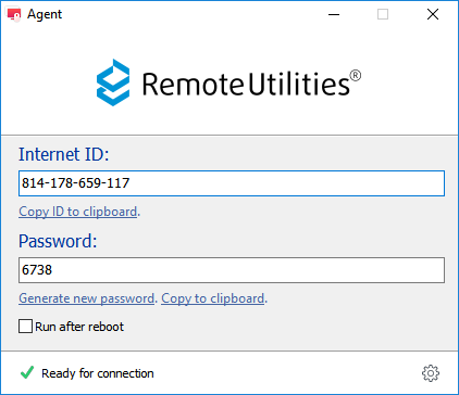 Agent window with ID and password shown