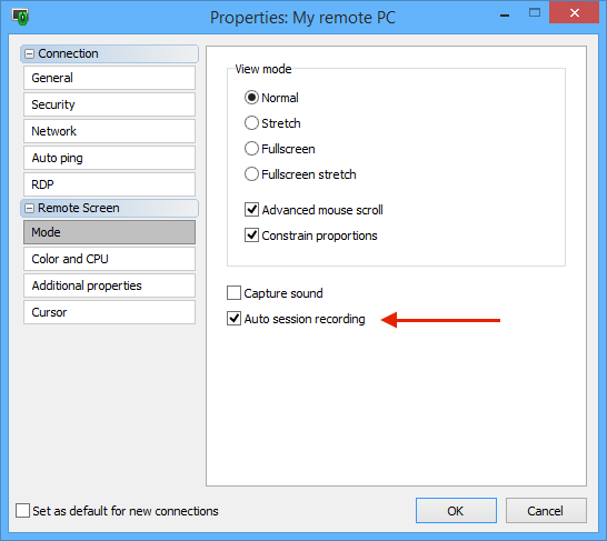 Auto session recording checkbox in connection properties