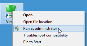 Run as administrator menu