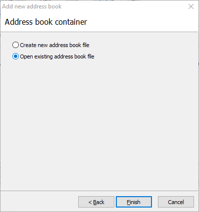 Open existing address book