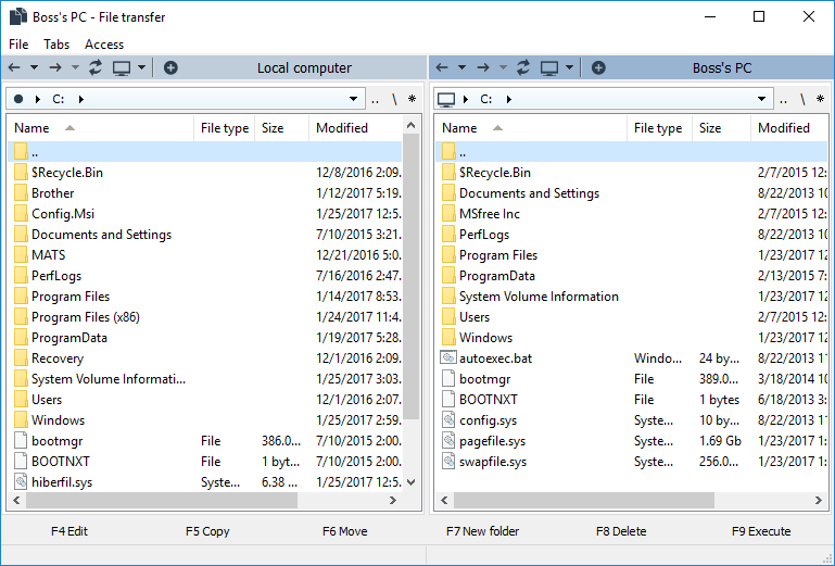 File Transfer mode window
