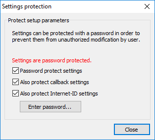 Settings protection