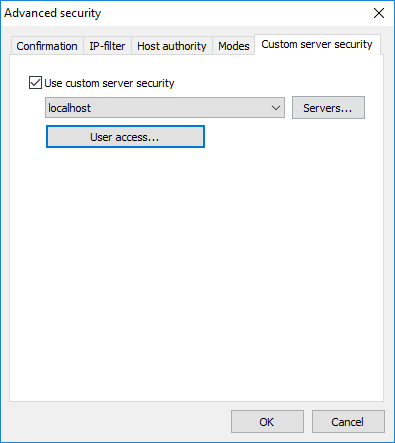 Advanced security - Custom server security tab