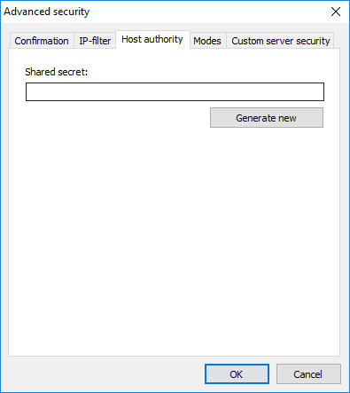 Advanced security - Host authority tab